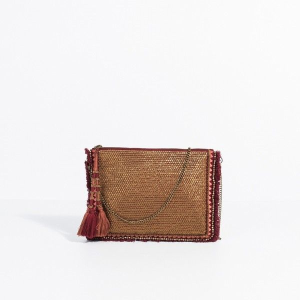 VIDA Leather Statement Clutch - Dark Leaves Leather by VIDA 4xTwV