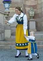 Princess Madeleine and little Princess Estelle together as the Swedish Royal Family celebrates National Day, 06 June 2013.