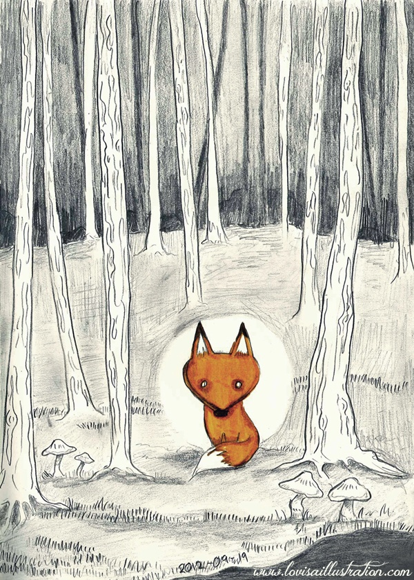 """""""Lonely Fox""""  by: Lovisa Hedman  http://lovisaillustration.blogg.se  #fox #forest #illustration #sketch"""