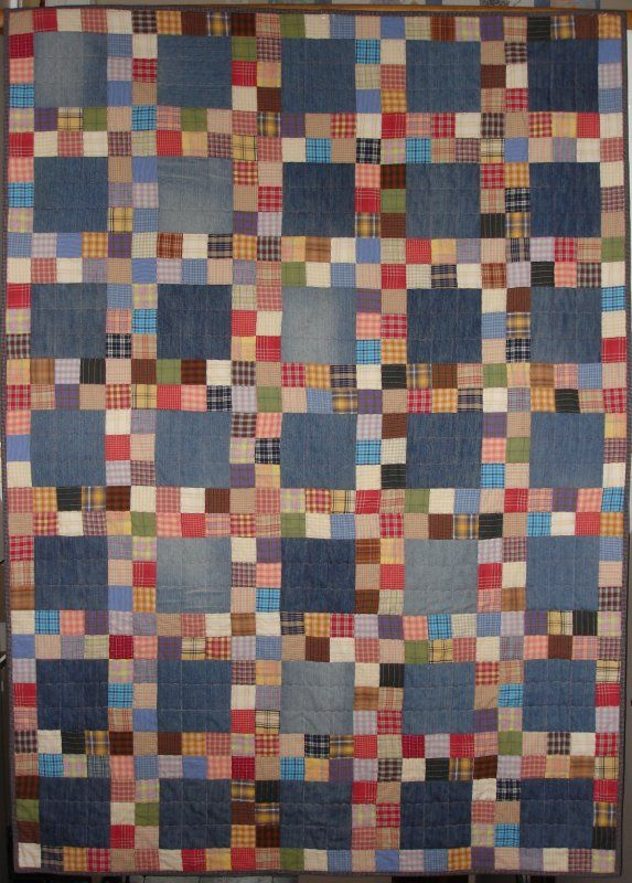 Denim & homespun fabrics i like the layout of this postage stamp quilt - old denim and small plaids