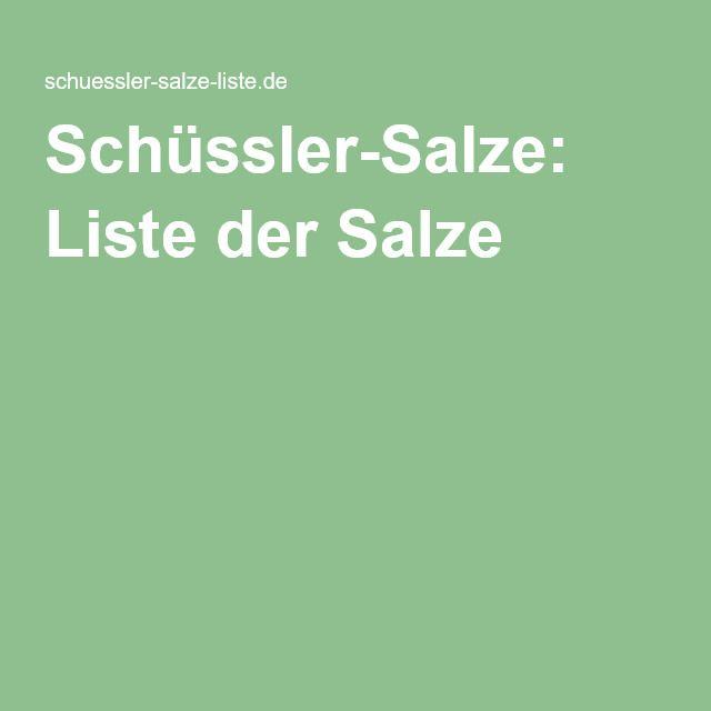 Schüssler-Salze: Liste der Salze