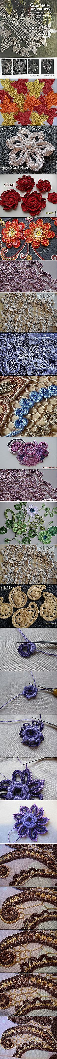 *** How to Crochet Grapes and Vines + Leaves ++++ More __ How to Make a Netted Background Pt 02/02 *** ___________________________ ирландское кружево - Самое интересное в блогах