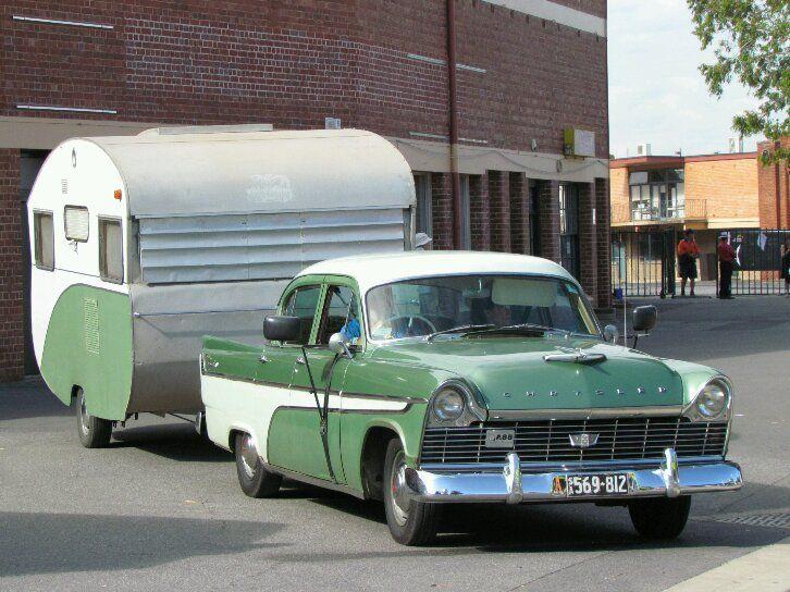 1964 Globetrotter Gold Coaster bondwood caravan with matching 1957 Chrysler Royal