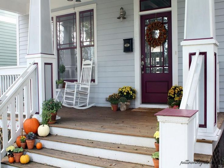 Interior, : Fabulous Design For Front Porch Decoration Using White Wood Front  Porch Railing Along With Fall Pumpkin Front Porch Decoration A.