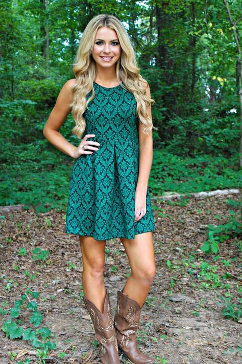 ← country girl style Teal green dress with taupe cowboy boots in this outfit harmoniously sense of taste real lady and rustic