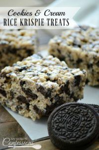 Cookies & Cream Rice Krispie Treats-These are the BEST Rice Krispie Treats EVER! They are soft and gooey with yummy chunks or Oreos throughout. You will not find an easier dessert than this recipe. You can make these babies in under 10 minutes. They are, knock your socks off good!