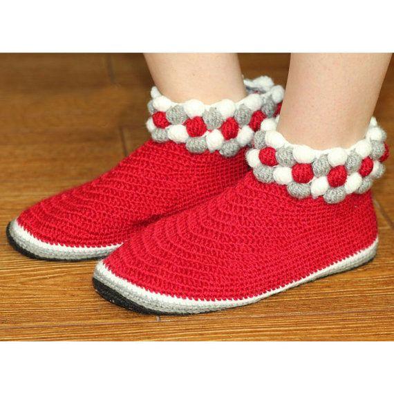 red slippers handmade crochet slippers womens house shoes