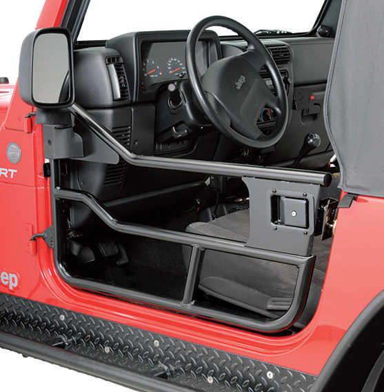 These awesome doors have a heavy duty 1-1/4 inch tube construction. No drill application means easy on and easy off for trail days or whenever. Heavy duty frame provides exterior protection yet ventilation. Easily accepts OEM mirror or HighRock 4x4™ Replacement Mirrors.