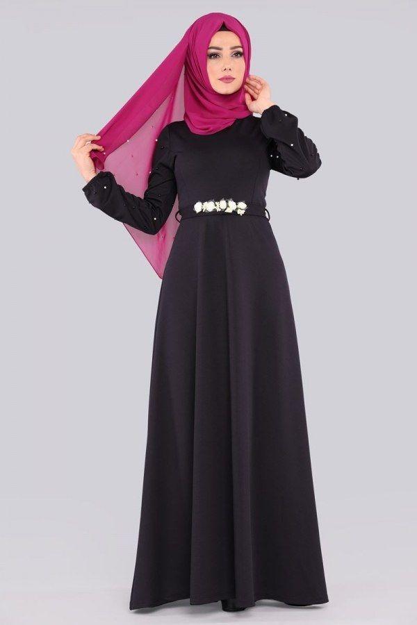Modaselvim Gul Kemerli Tesettur Elbise Modelleri Moda Tesettur Giyim Elbise Elbise Modelleri Moda Stilleri