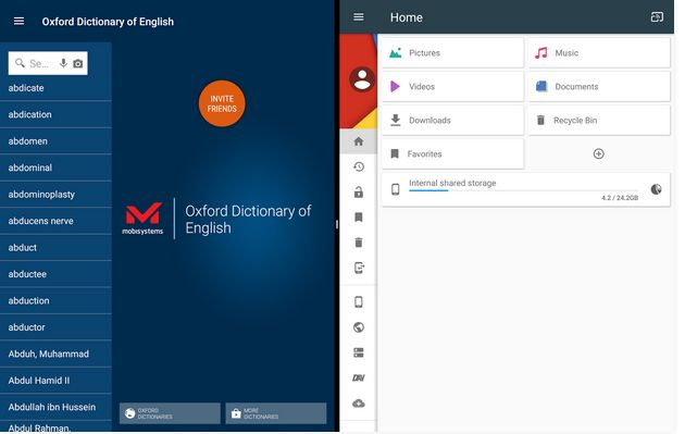 Oxford English Dictionary for Android is well packaged with file explorer.
