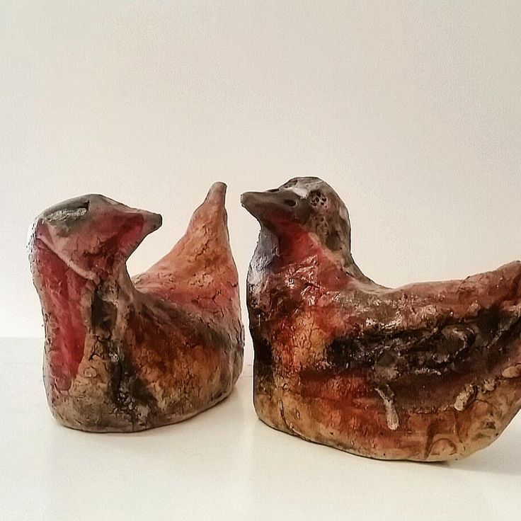 2015  Seabirds. stoneware cone 9 oxidation. Iron Oxide, stains and washes