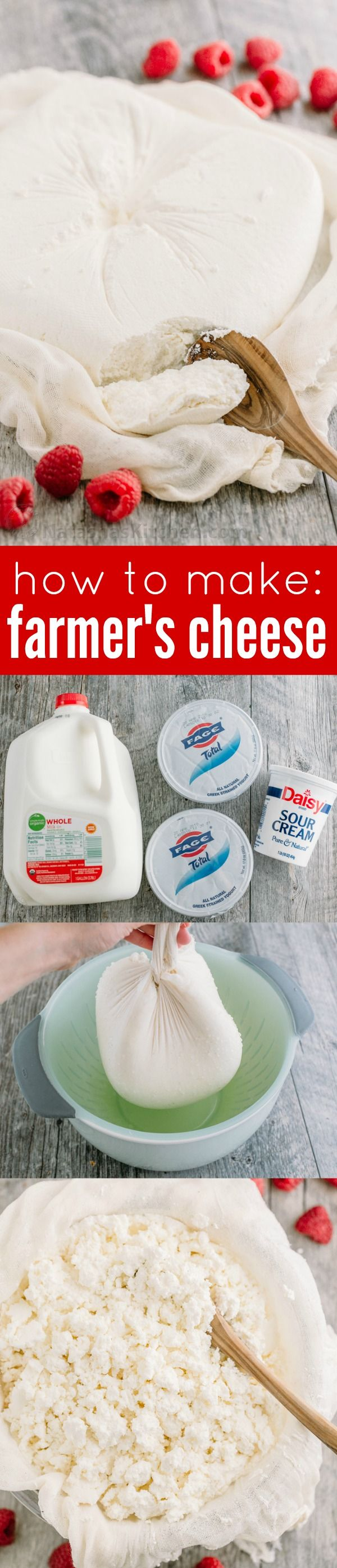 My Mother's method for homemade Farmers cheese (tvorog). Easy to make and much better than store-bought farmer cheese. How to make homemade cheese with step-by-step photos.