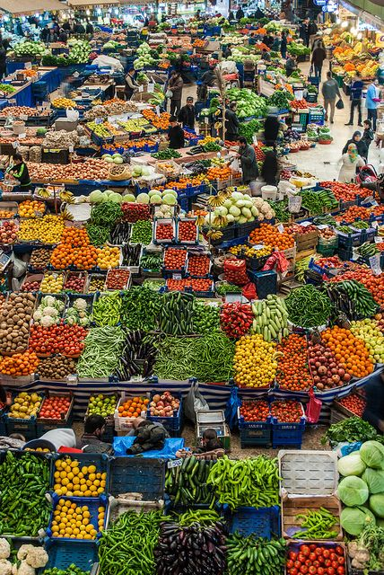 (Colorful bazaar- Iran) * * CROWED AND COLORFUL. WOW - PUTS OUR FARMERS' MARKET YEARS BEHIND.
