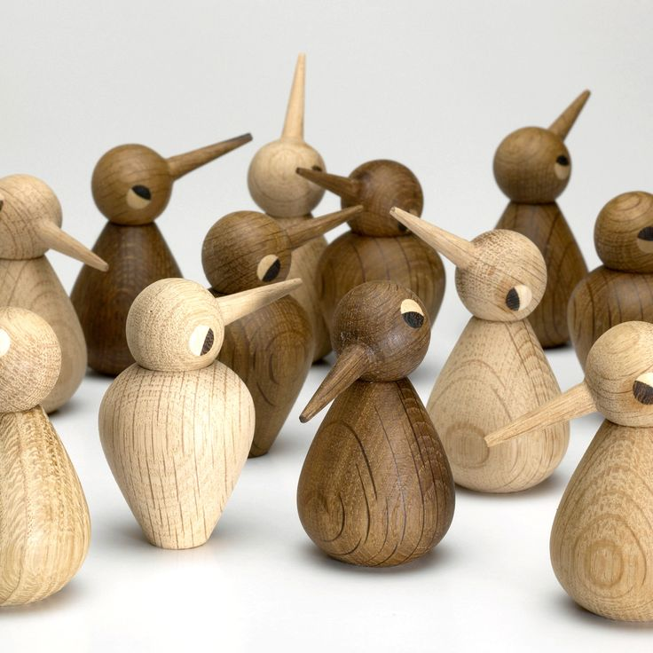 "Kristian Vedel's ""Birds"" are incredibly emotive and playful. By moving the beak in different directions these cute birds can express such feelings of happiness, curiousity, sadness and playfulness. Still handcrafted by a single woodturner in Denmark."