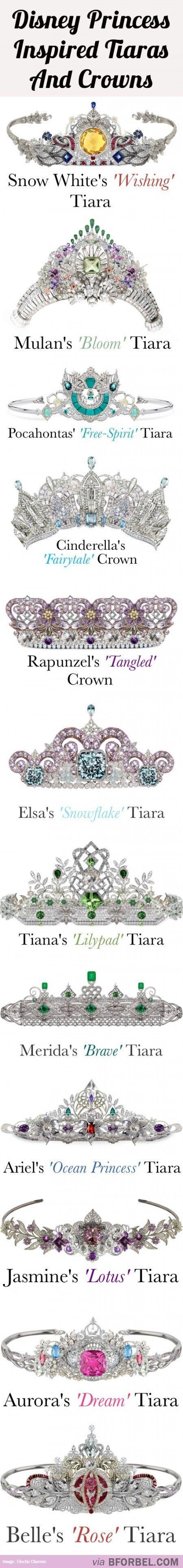 12 Disney Princess Tiaras And Crowns… Like this.