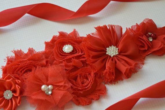 Rojo marco de Navidad roja flor correa por FlowersAndElastic