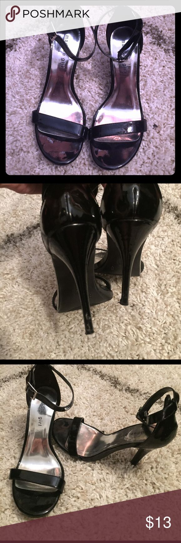 Black heels with strap Black heels. Size 8 but can fit up to 8.5. slight wear as seen in pictures - priced to reflect Madden Girl Shoes Platforms