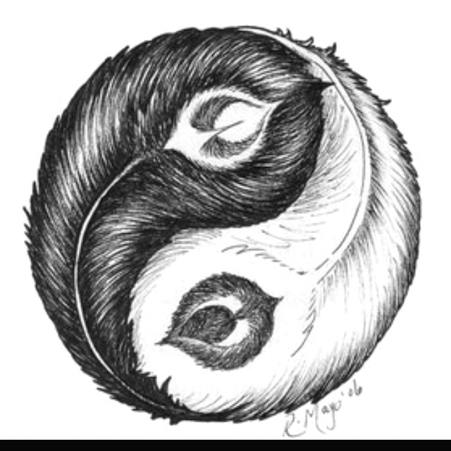 Abstract Lion With Yin Yang: With Peacock Feathers, Yin Yang...This Would Be For Jane