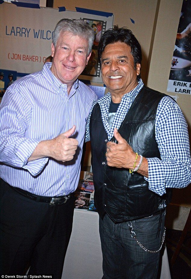 Back together:CHiPs co-stars Erik Estrada and Larry Wilcox were reunited as they attended...