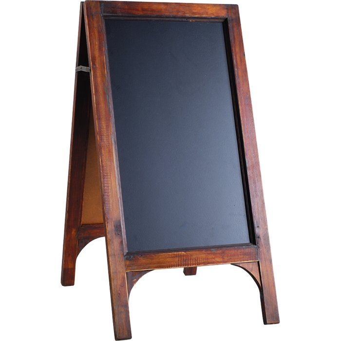 Evoke bustling farmers markets and old general stores with this charming foldable blackboard, showcasing a timeless wood frame. Blackboard, chalkboard and wood, black and brown, easel style, folds flat.
