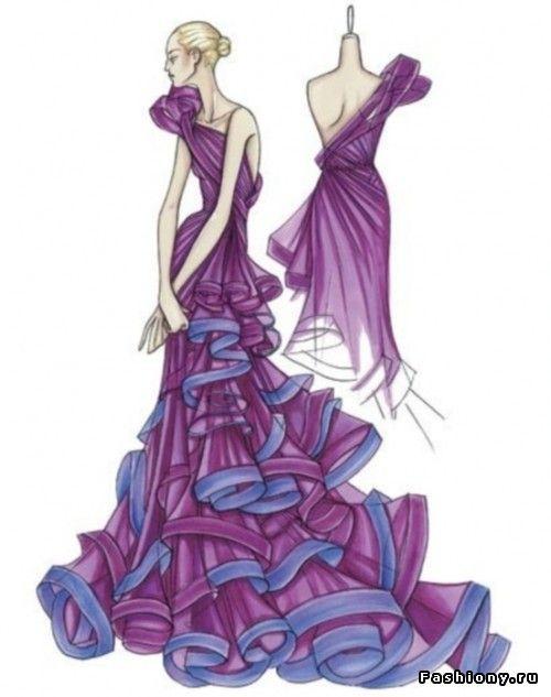 Эскизы моделей женского платья