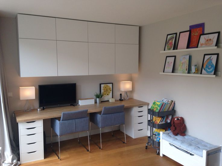 Home Office And Kids Area Besta Cabinets Alex Desk With Ikea Worktop Farrow