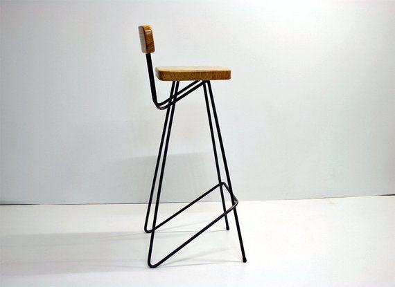 Industrial Bar Stool With Backrest Pure Oak Bright Version Etsy Mobiliário De Bar Banqueta Alta Para Cozinha Ideia Moveis