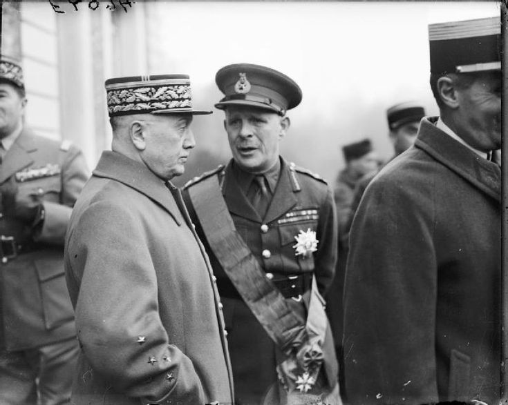 General Alphonse Joseph Georges, left. He was commander in chief of the North East Front in 1939 and 1940. Opposing the plan by supreme commander Maurice Gamelin to move the best allied forces into the Low Countries, he was overruled by his superior. Here is with the British General Lord Gort at Arras circa 1940