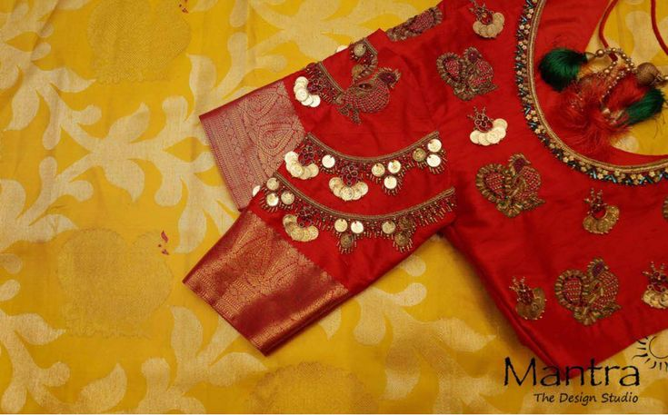 Beautiful red color designer blouse with kasu hand embroidery work. Designer blouse with swan design motif hand embroidery thread work. 17 February 2018