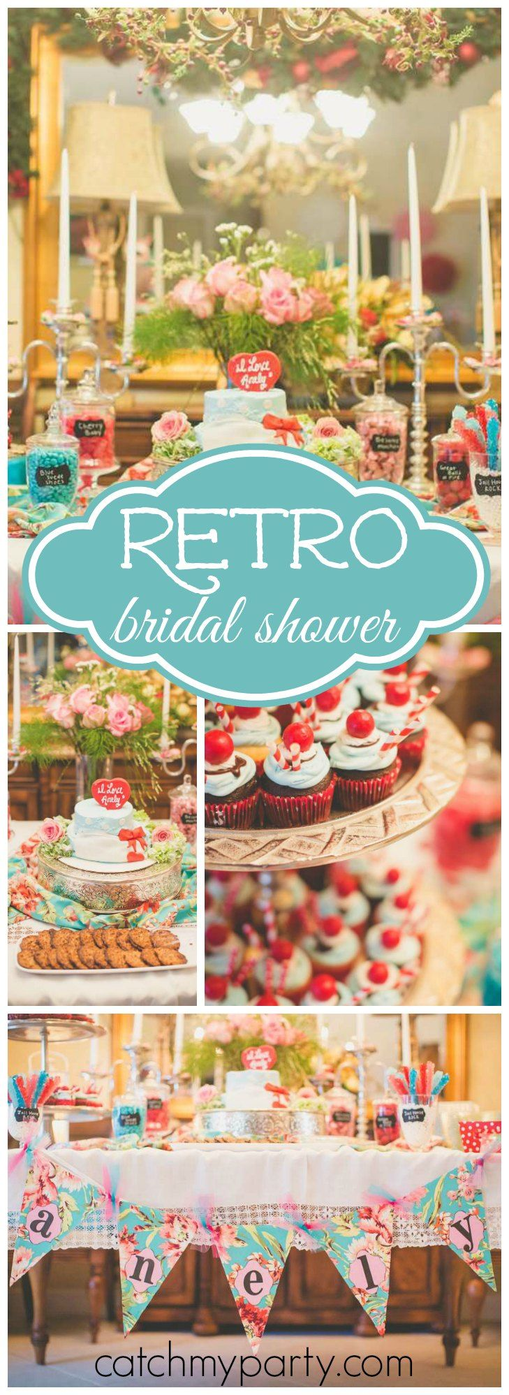 Love this retro bridal shower in teal, red and pink! See more party ideas at CatchMyParty.com!