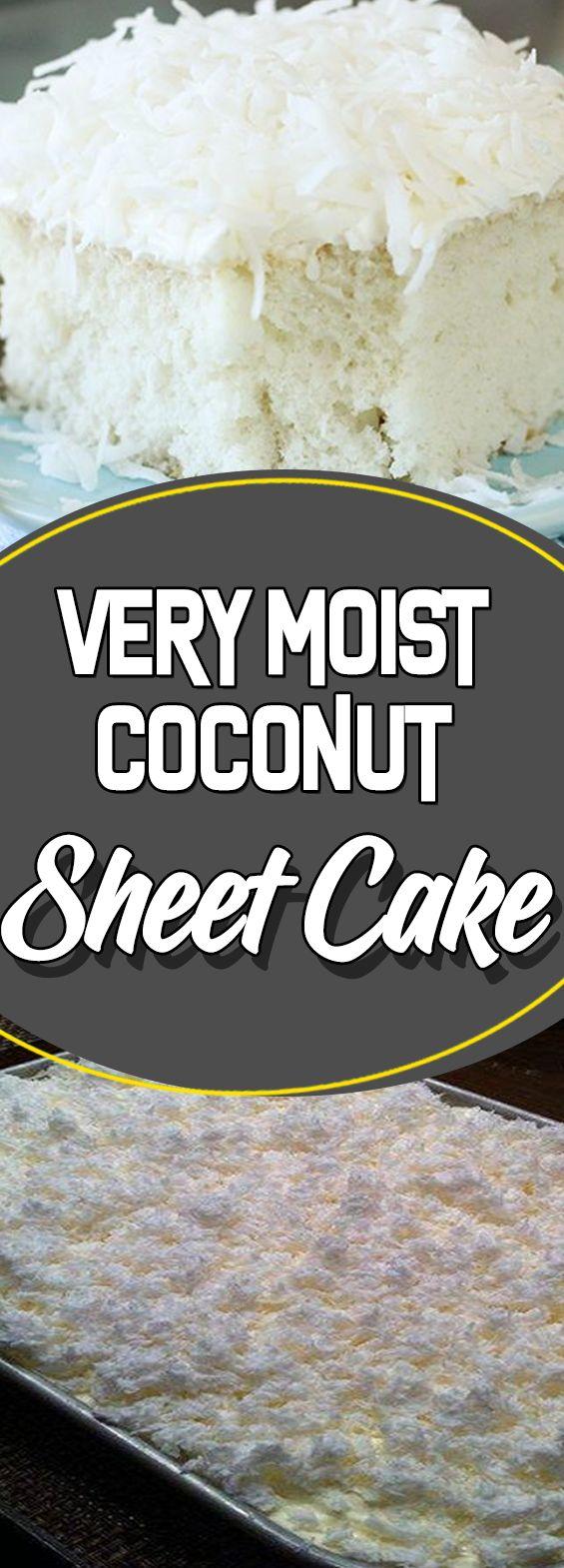 Very Moist Coconut Sheet Cake #appetizer #recipeideas #recipes #dessert #dessertrecipes #desserttable