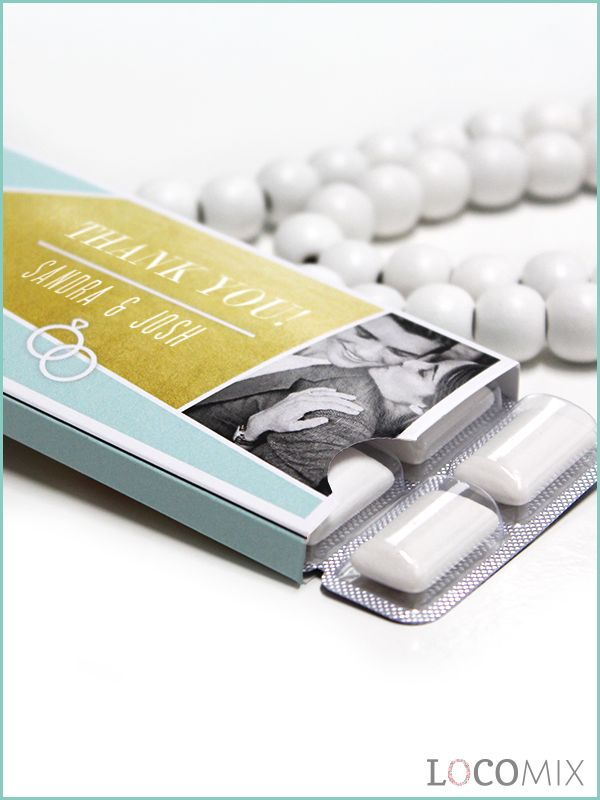 Personalised Chewing Gum wedding favours are a nice and refreshing gift for your wedding guests! The sleeve of the Wedding Gum favours can be pesonalised through our online design tool!