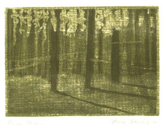 Green Shadows original aquatint etching by printsnat on Etsy, $9.99