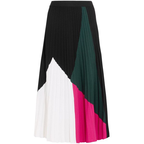 Proenza Schouler Color-Blocked Pleated Knitted Midi Skirt (1,290 PEN) ❤ liked on Polyvore featuring skirts, multicolor, midi skirts, calf length skirts, flared skirt, mid-calf skirts and flared midi skirt