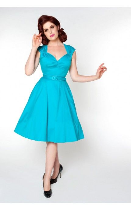 Pinup Couture - Heidi Dress in Bright Blue | Pinup Girl Clothing