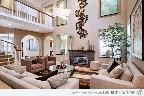 high ceiling living room   15 Interiors with High Ceilings   Home Design Lover