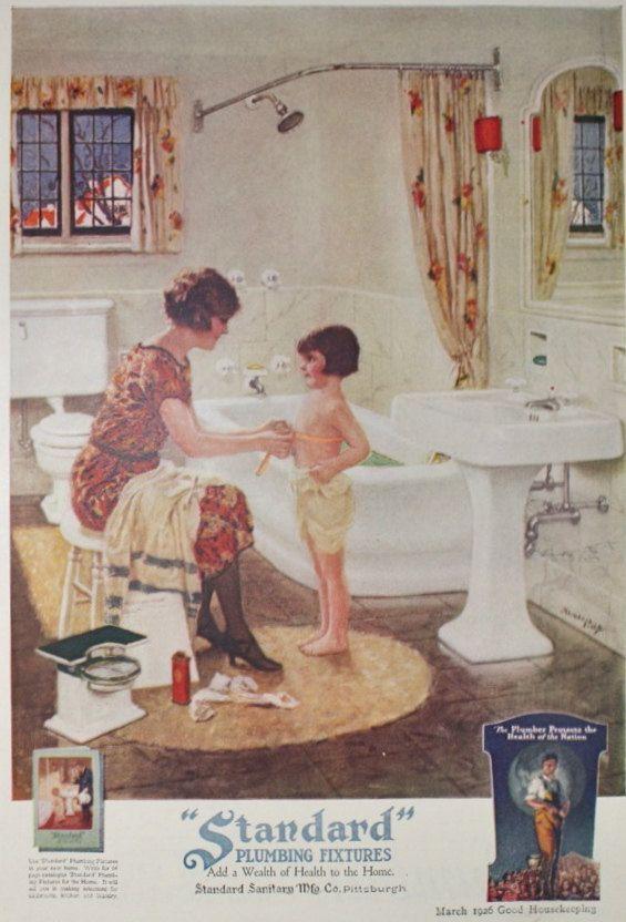 Standard Plumbing Fixtures, Bathroom Ad   Vintage 1920s Good Housekeeping  Magazine Advertisement