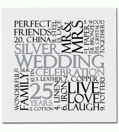 Silver 25th Wedding Anniversary Invitations 10pk