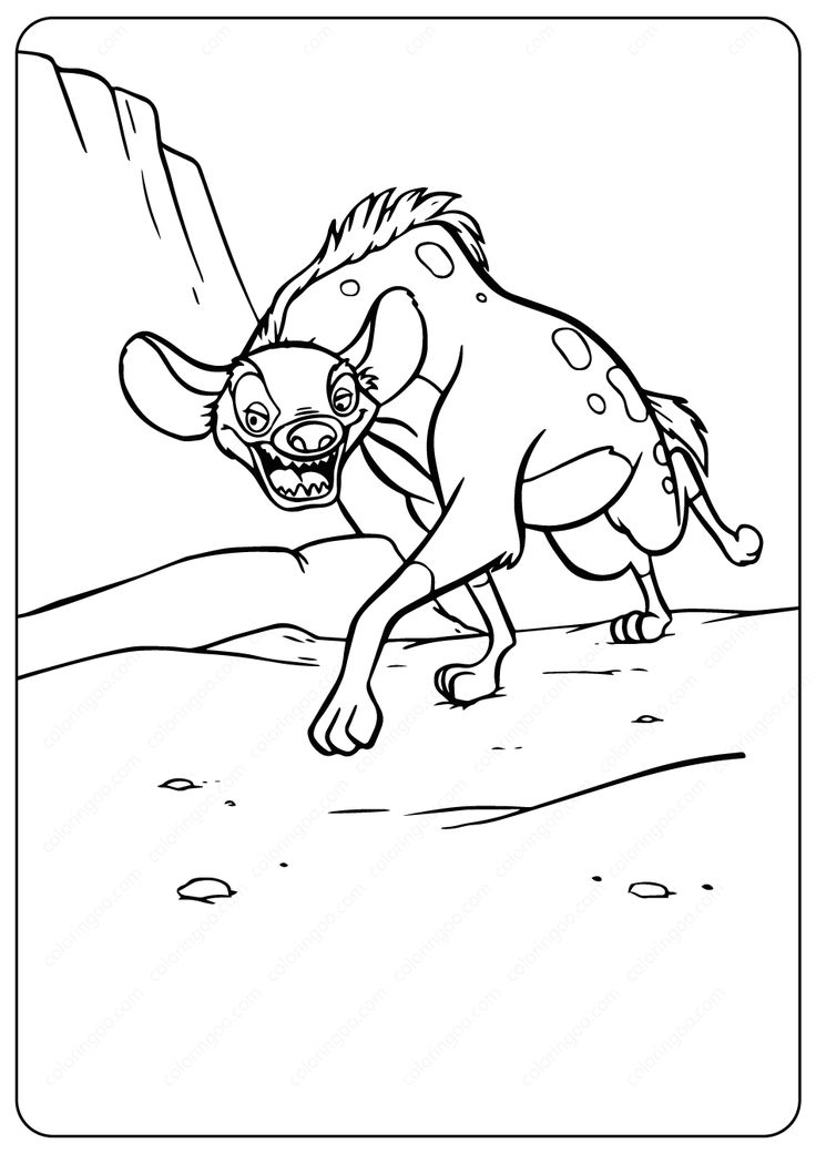 Hyena PDF Coloring Pages   Printable animals, Animals ...