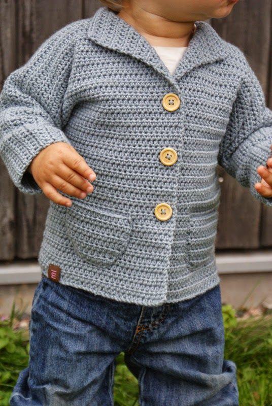 """Virkad barnkofta från maria syr och så vidare. Mönster från http://www.garnstudio.com/lang/se/visoppskrift.php?d_nr=b20&d_id=17&lang=se. Garn: """"Organic Cotton + Merino Wool"""" från Onion Knit"""