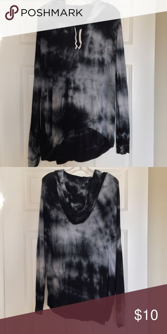 Brandy Melville pullover sweater Tye dye pullover thin sweater. Has cream hoodie ties. It's super comfy! Higher in the front and longer in the back. Brandy Melville Jackets & Coats