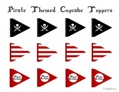 free pirate party printables | Free Pirate Cupcake Printable Toppers | Frugalful.com
