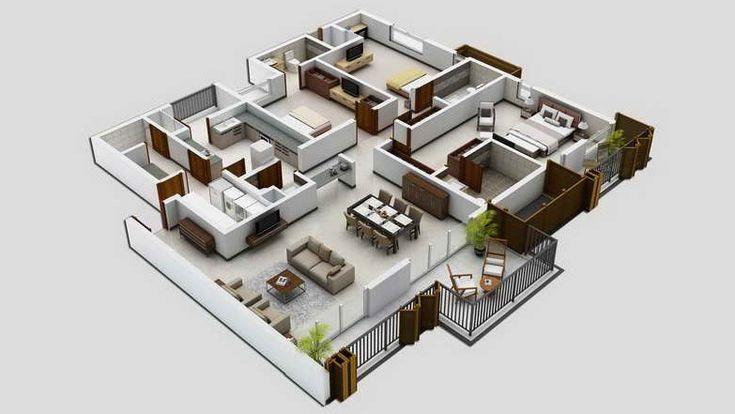 Denah desain rumah minimalis modern 4 kamar tidur 3d 1 design and