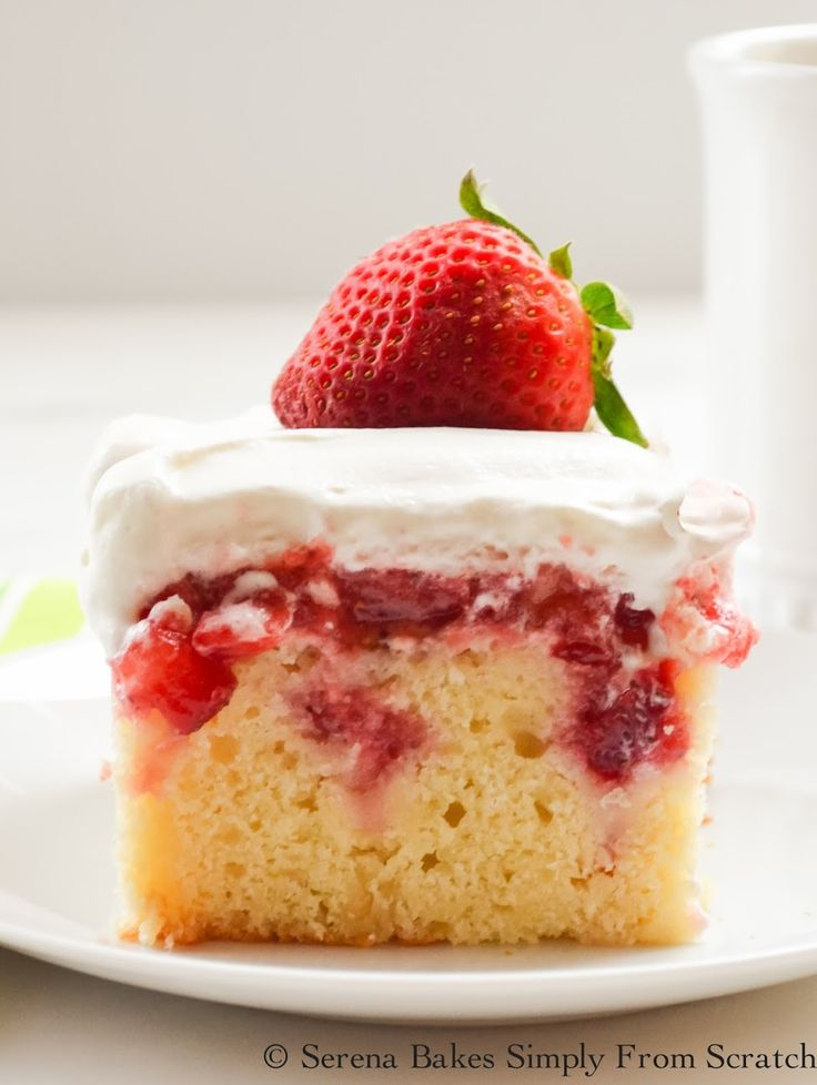 A light lemon buttermilk yellow cake filled strawberries and covered in whip cream. Strawberry Shortcake Poke Cake is perfect for gatherings.
