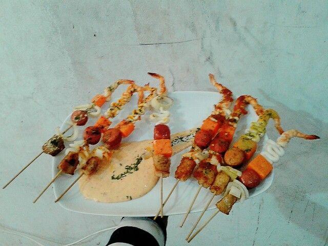 Seafood satay ..