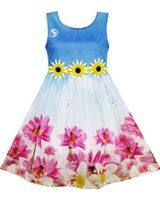 Blue bodice with sunflowers underneath... pink flower dress for girls