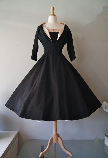 "1950s silk faille ""New Look"" era party dress with full skirt and matching bolero jacket. Lined in pink satin"