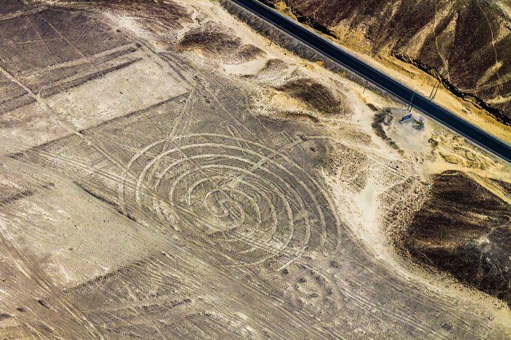 Líneas de Nazca vistas desde el cielo, en Perú.
