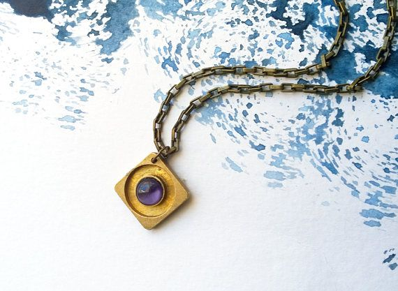 Antiqued Brass Rhombus Necklace Opal Purple Stone Rustic