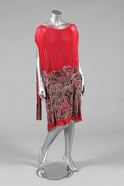 ~Couture Beaded And Cutwork Red Chiffon Flapper Dress With Cutwork Lace Effect Skirt Densely Beaded In Crystal And Silver Beads, Silver Embroidered Flowers And Leaves, With Two Beaded Scarf Panels To The Shoulders, Made By Iabelled H. Rivain - Paris, France   c. 1925~